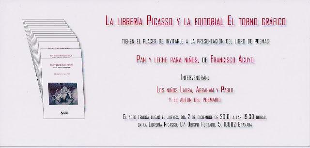 Invitación para la presentación del libro de poemas Pan y leche para niños, Francisco Acuyo