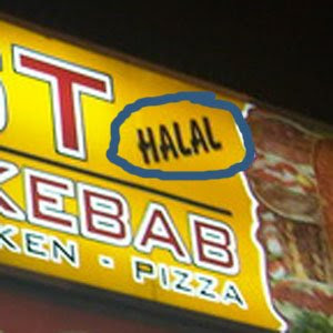 Meat In A Roll: Takeaway signs using Microsoft Word fonts #1