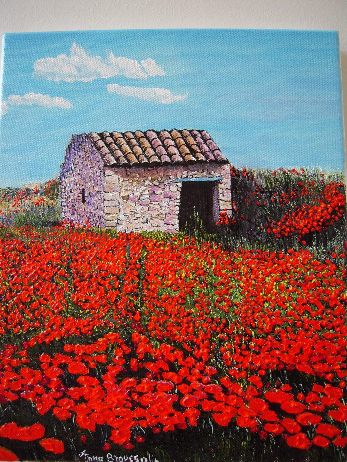 La Provence : peintures: cabanon et coquelicots