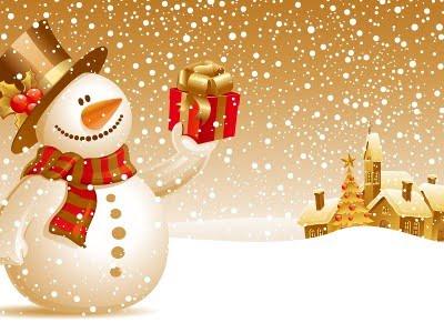božićne i novogodišnje čestitke slike Božićne slike i e card čestitke: Snjegović i dar za djecu za Božić božićne i novogodišnje čestitke slike