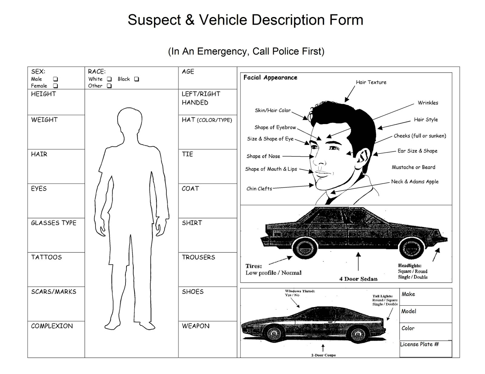 Description Suspect Form Robbery