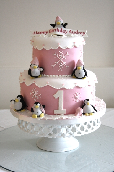 Audrey Is Having A Winter Wonderland Birthday This Weekend So Her Mummy Chose Pink Cake With Lots Of Snowflakes And Penguins Since Its Snowing Outside