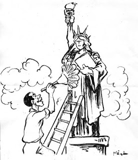 the arab obama part 1 caricatures of the the president elect Anna Campbell Syrian Kurds eighty three year old egyptian political cartoonist and ambassadors magazine editorialist ahmed toughan depicts barack obama dusting off the statue of