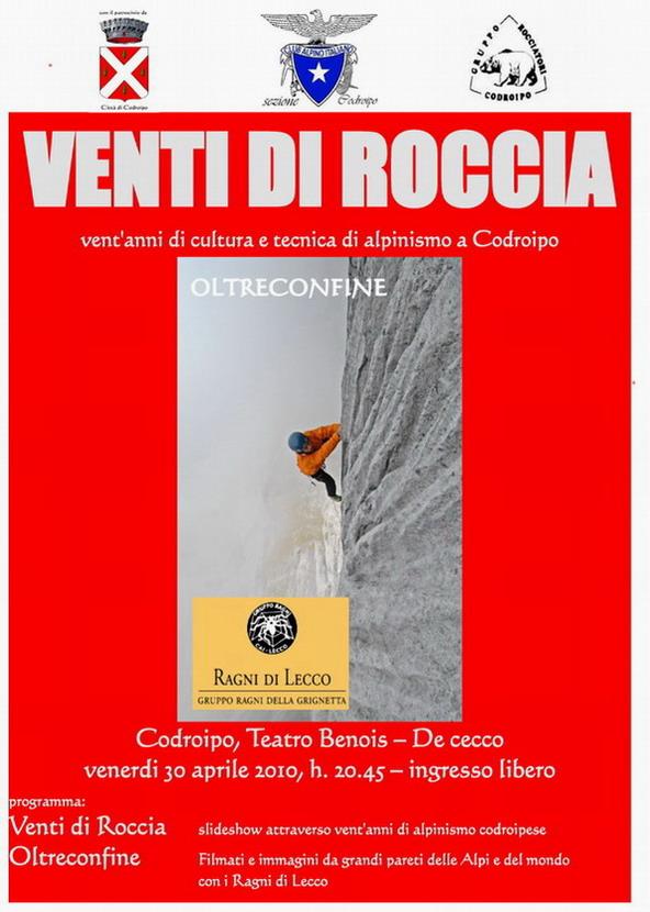 """Codroipo: alpinismo in scena il 30/04/2010 con """"Venti di Roccia"""""""