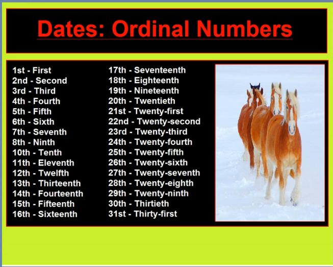 Numbers ordinal