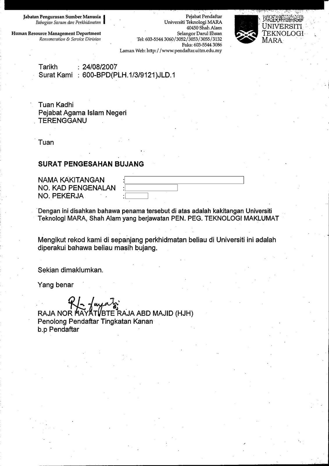 Surat Rasmi Akuan Bujang Surat Rasmi P