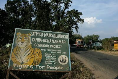 A hoarding on the Bilaspur - Amarkantak highway in Achanakmar tiger reserve, Chattisgarh