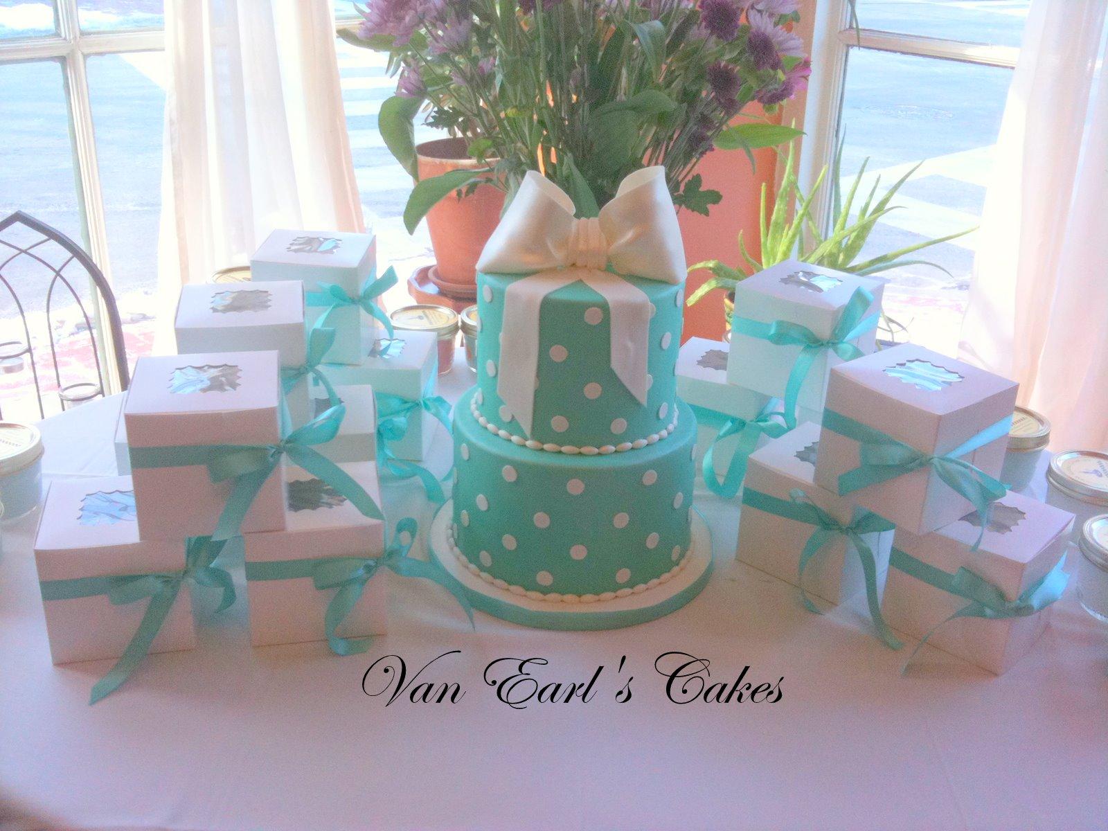 Tiffany Blue Gift Box Bridal Shower Cake - a photo on ...  Tiffany Bridal Shower Cakes