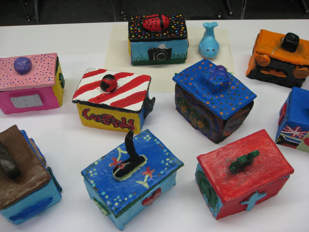 ART with Mrs Smith quotMEquot clay boxes