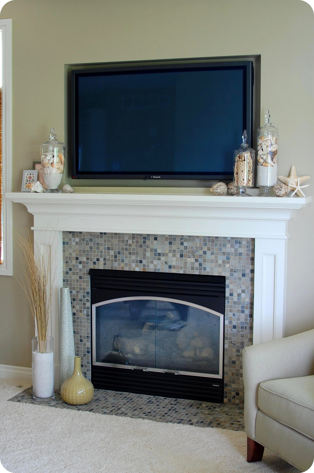 Fireplace Mantel Decor With Tv 33 Shades Of Green Decorating Around The Tv