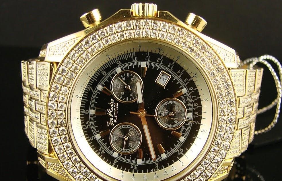 joe rodeo watch 1100ct big diamond bezel black chrono 2000 series