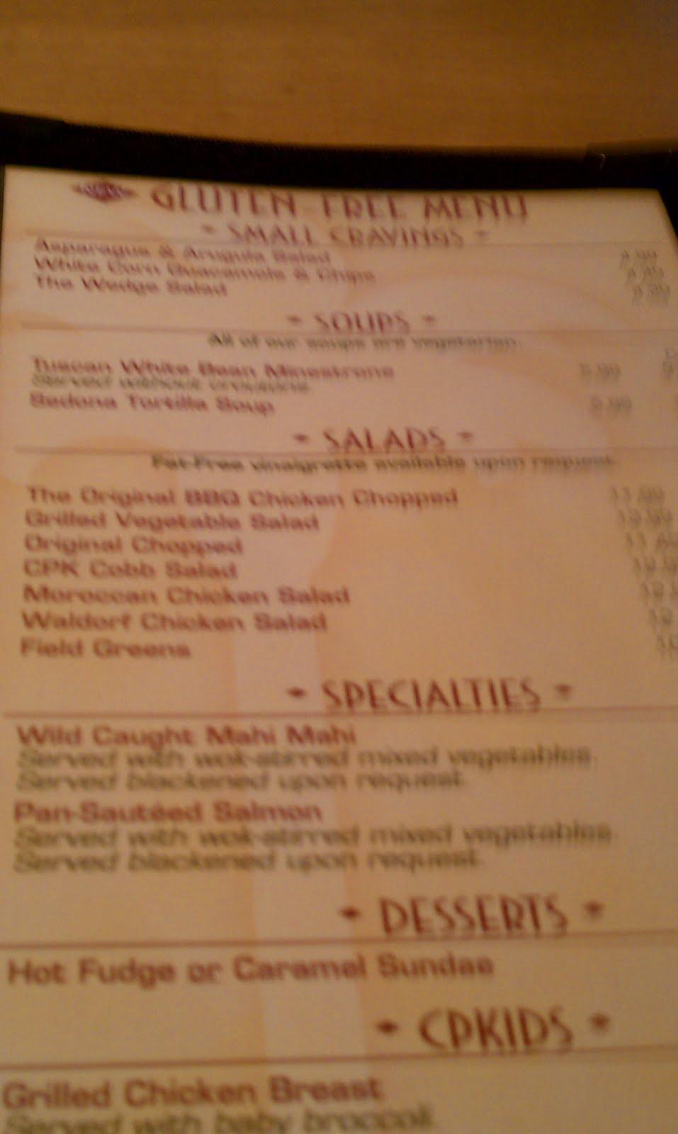 California Pizza Kitchen Southpoint Menu