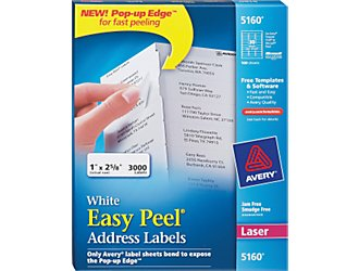 Avery labels 5160 for Staples white mailing labels template
