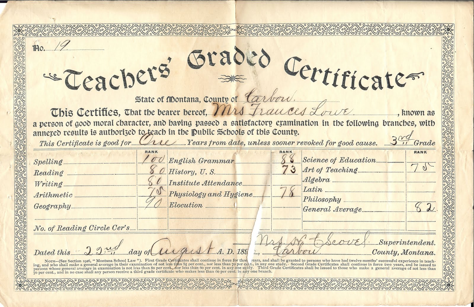 The turning of generations june 2010 continuing from saturdays post where i wrote about my great grandmother frances lowes teachers certificate from boulder county colorado 1betcityfo Gallery