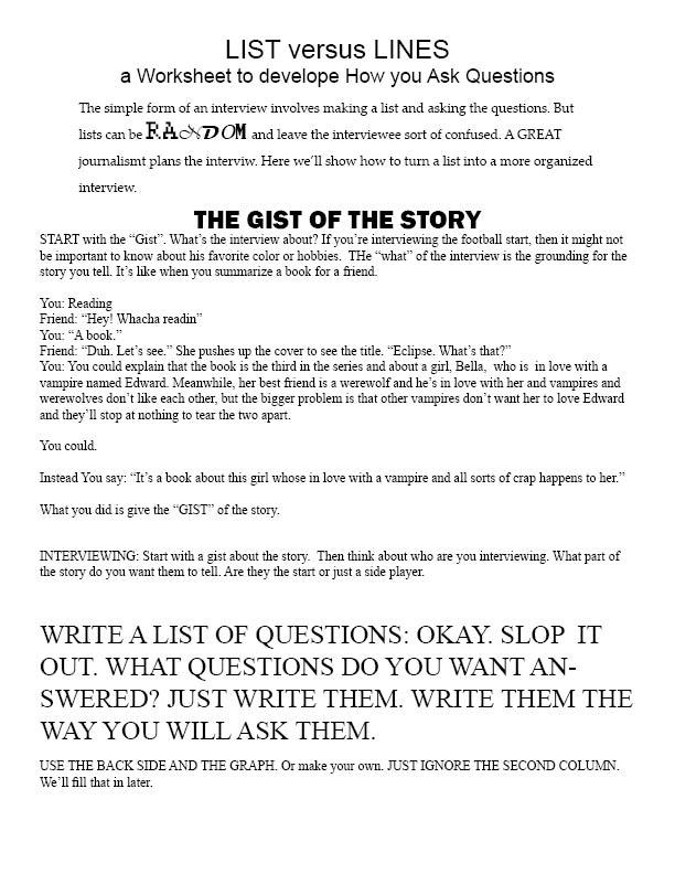 Feature Writing List Vs Line Worksheet
