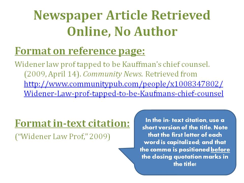 Apa referencing online article