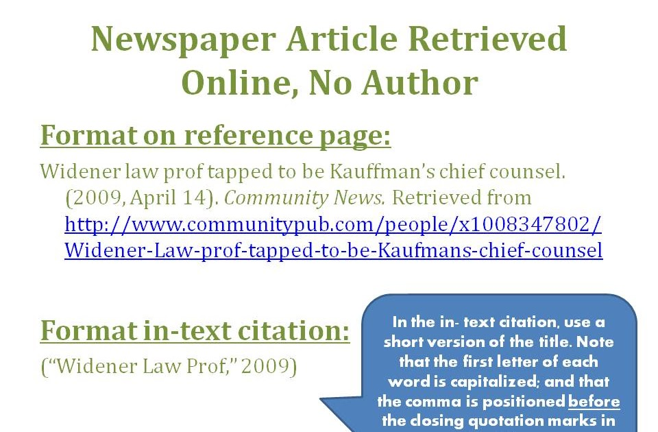 Apa News How To Cite Newspaper Articles In Apa 10 Steps