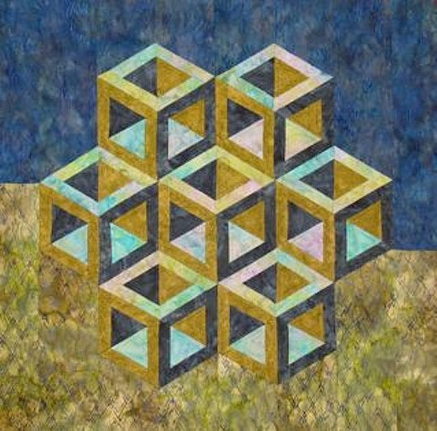 Quilt inspiration cubic construction for 3 dimensional cube template
