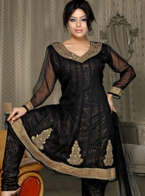 Black Net Churidar Dress Women Wedding Suit Ladies