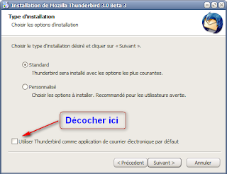 Mozilla Thunderbird 3 beta 3 - Options d'installation