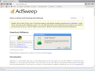 Google Chrome 4 - Installation extension AdSweep