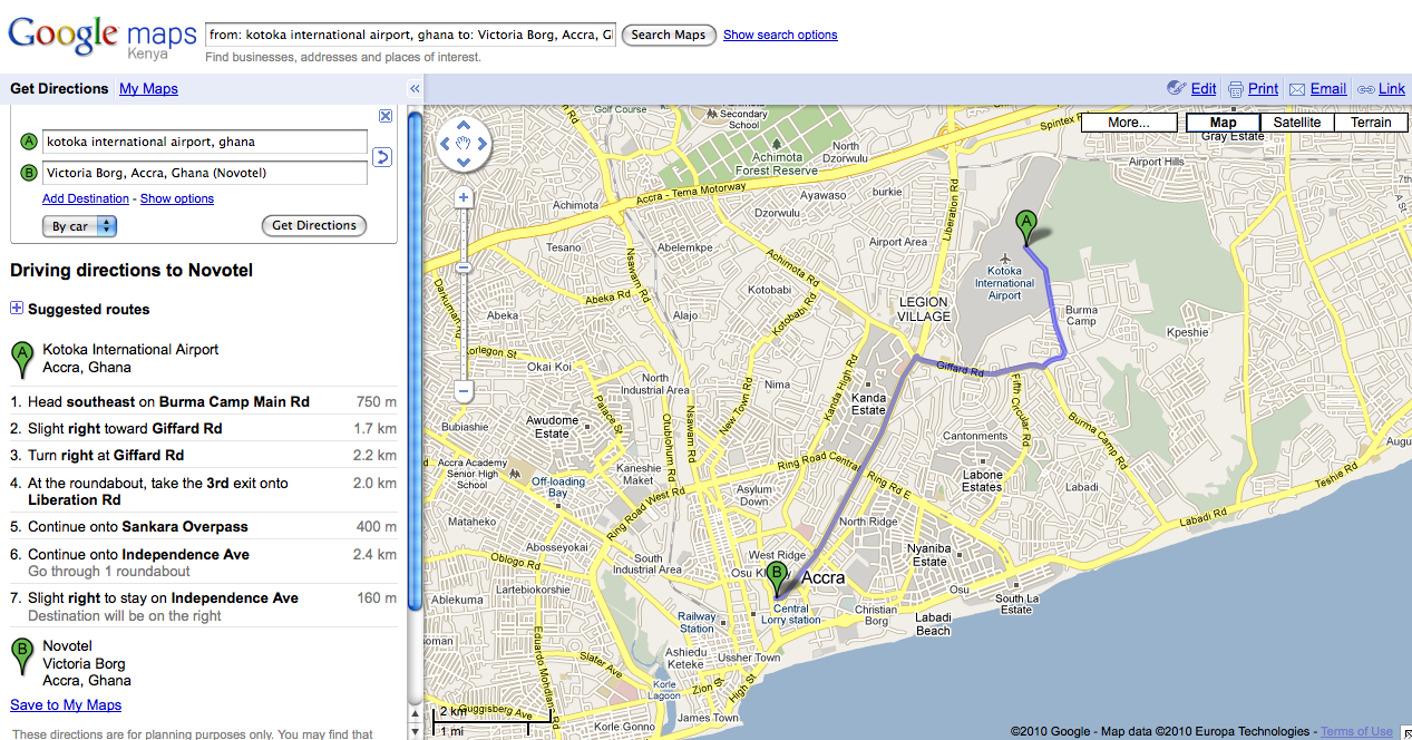 Driving Directions Using Google Maps on