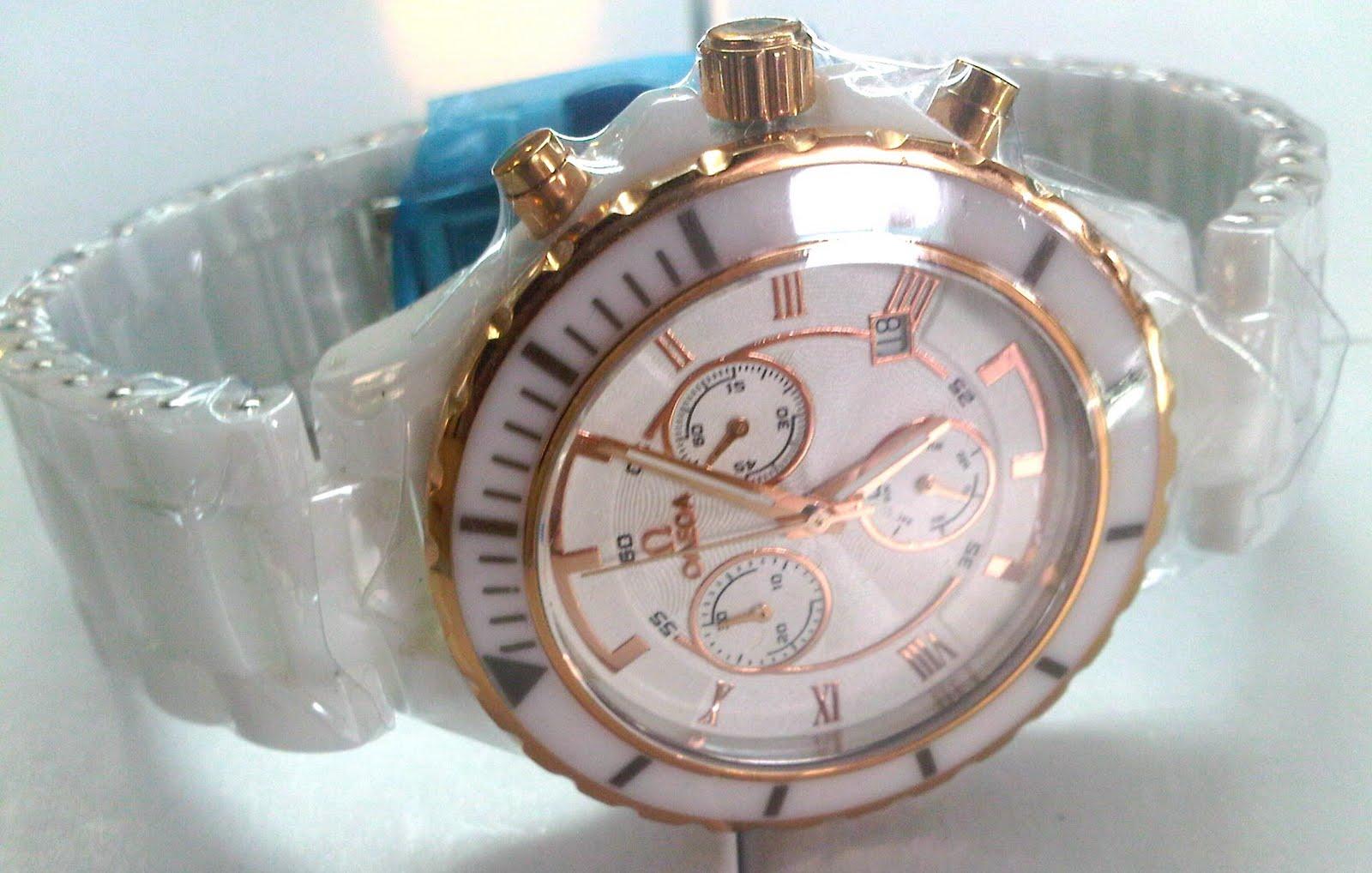 jam tangan Omega crono date white keramik...jam ini mememiliki diameter 4  cm...jam ini bisa di pake pria dan wanita...jam ini terbuat dari keramik.. jam ini ... 76d4d39577