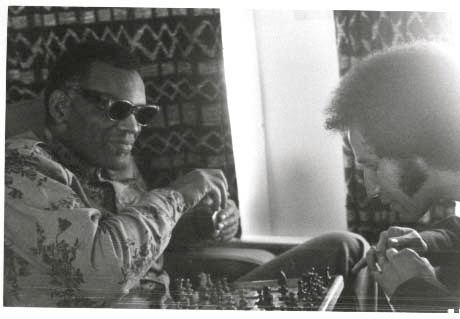 Ray Charles plays chess with trumpeter Tony Horowitz.  Undated photo, from Tony Horowitz