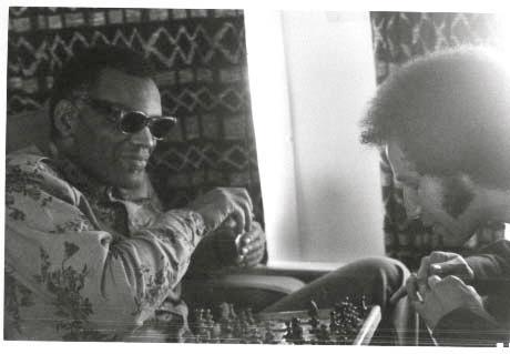 Ray Charles plays chess with trumpeter Tony Horowitz.  Undated photo, from Tony Horowitz