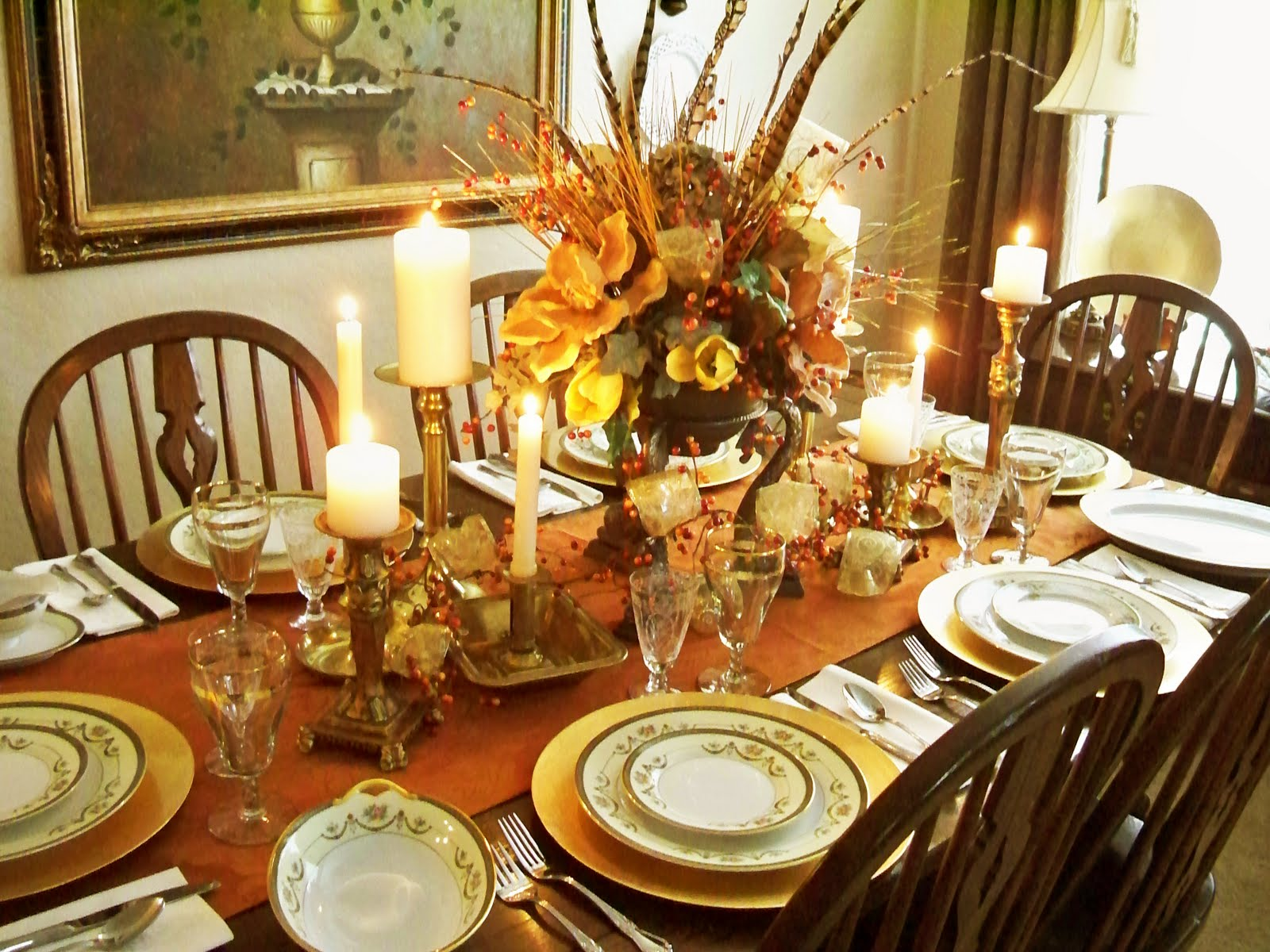 A final view of the entire table. & A Stroll Thru Life: Tablescape Thurs. - Thanksgiving Dinner