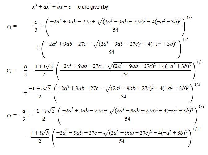 La fórmula para resolver la ecuación de tercer grado |