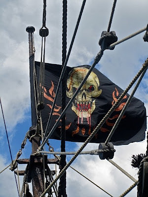 The pirate flag flies high on the Queen Anne's Revenge. - Pirates of the Caribbean On Stranger Tides