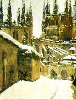 Catedral de Burgos nevada, Burgos en invierno, Joaquín Sorolla y Bastida, Joaquín Sorolla, Paisajes de Joaquín Sorolla, Impresionismo Valenciano, Joaquín Sorolla Bastida