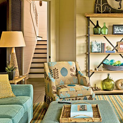 living room in beach and sea colors