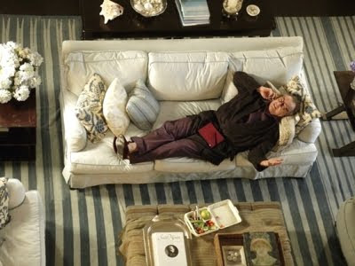 Something's Gotta Give living room blue and white striped rug