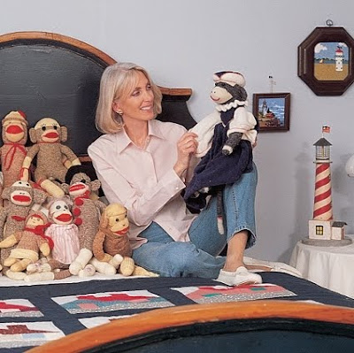 Barbara Guggenheim with her sock monkey collection