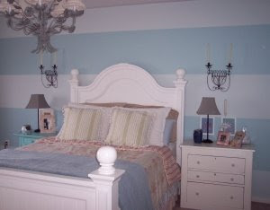 blue stripes bedroom