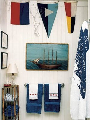 nautical signal flags in bathroom