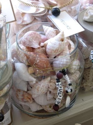 decorated jars filled with seashells