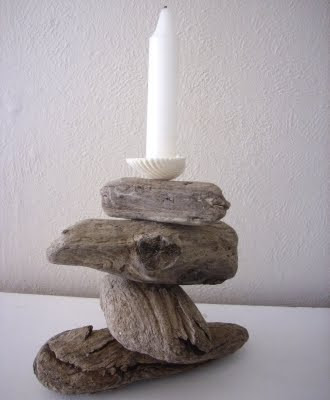 handcrafted driftwood candle holder