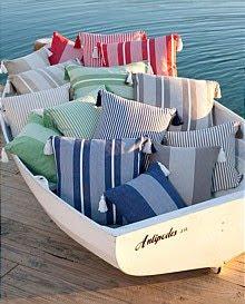 nautical cushions in boat