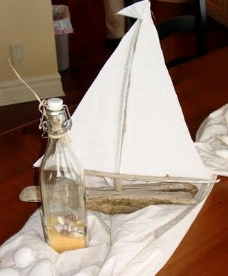 decorating with driftwood boats
