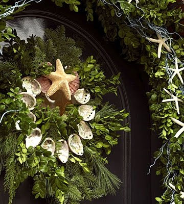 green wreath with shells