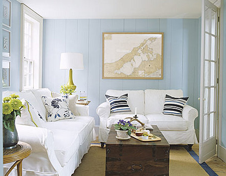 blue painted walls in living room