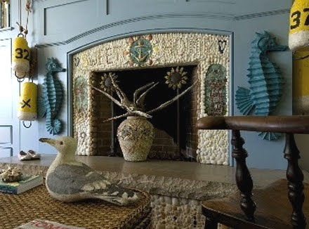 fireplace with shell art