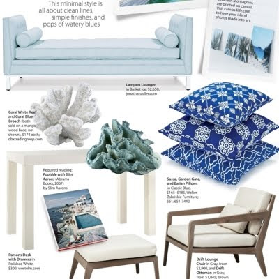 white and blue corals faux