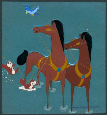 Cowan Collection Animation And Comic Art Melody Time 1 Once Upon A Wintertime 1948 5 16 Cel Of Horses On Paul Terry Background