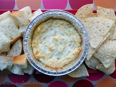 Garlic Artichoke dip with bread and chips