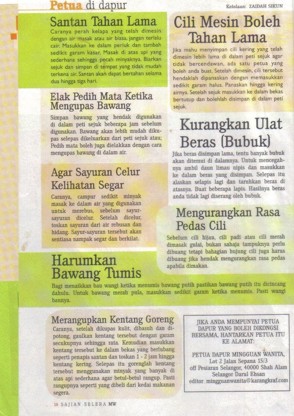 Petua Di Dapur Rencah Kehinku Julai 2010