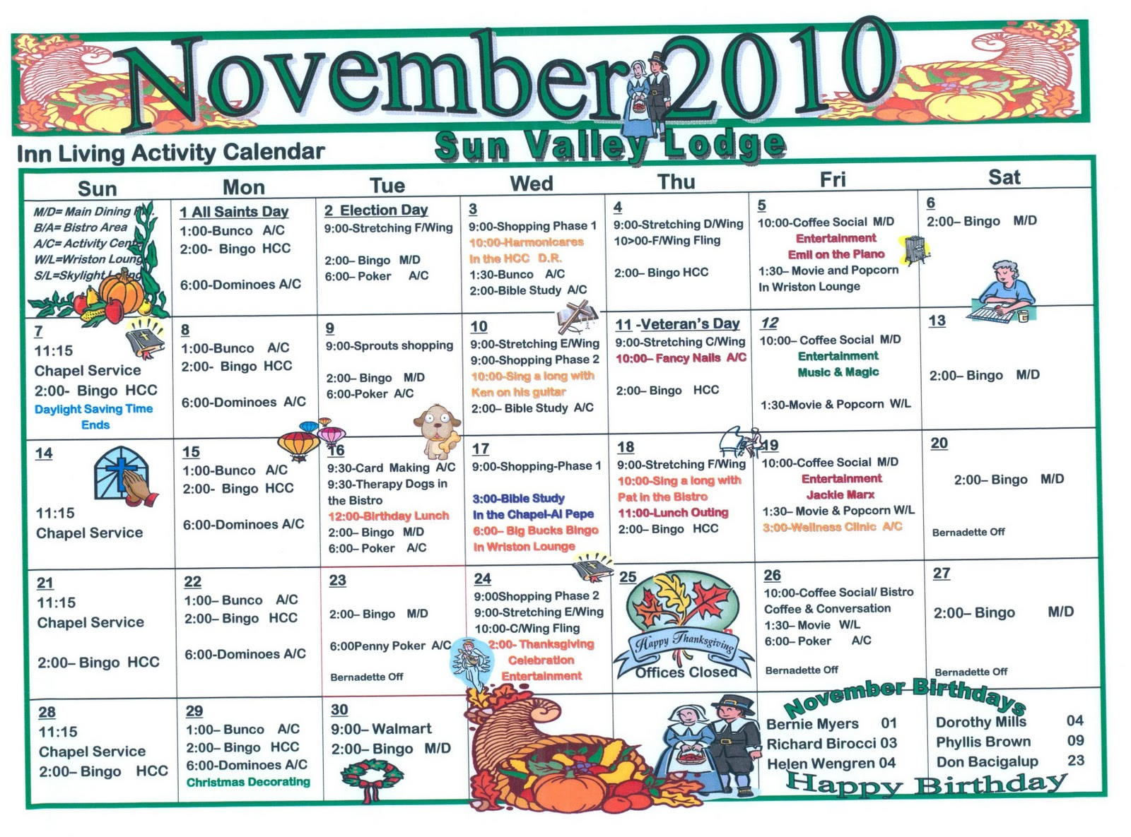 November Assisted Living Activities